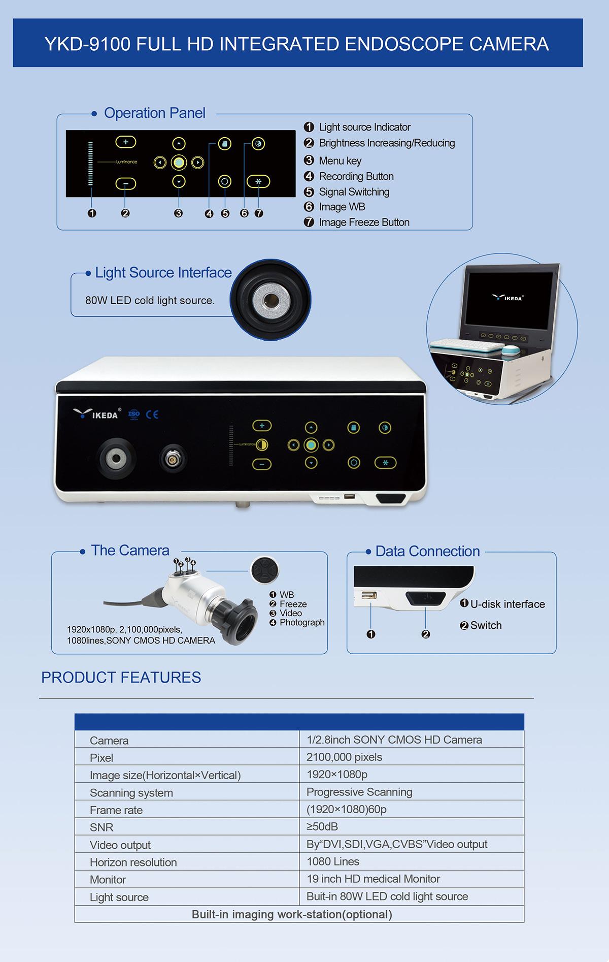 YKD-9100 USB Storage Medical Endoscopy System